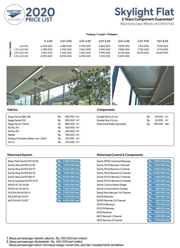 Harga Skylight Blinds Model Flat Sharp Point Denpasar Bali