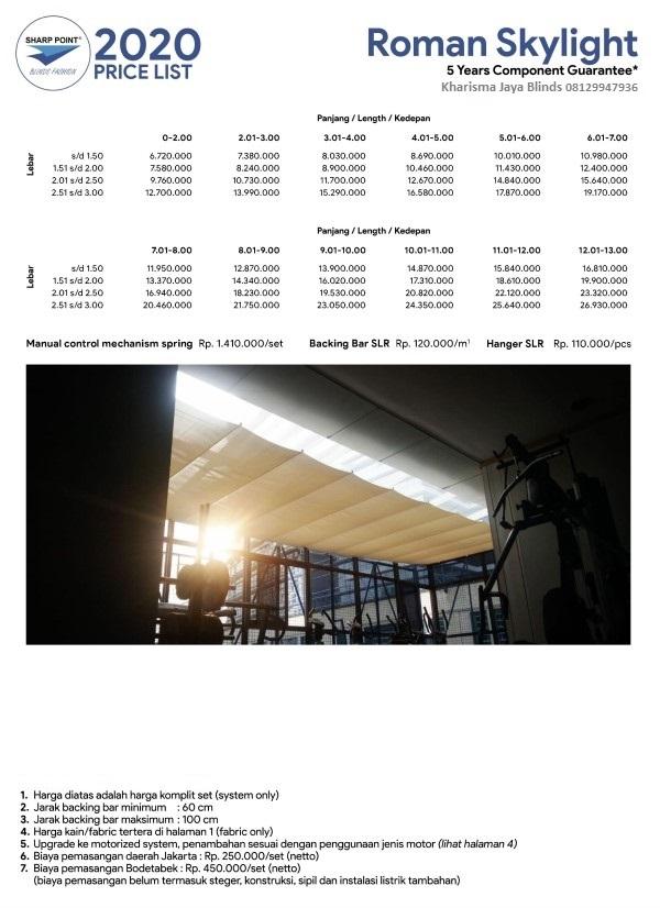 Harga Skylight Blinds Model Roman Sharp Point Denpasar Bali